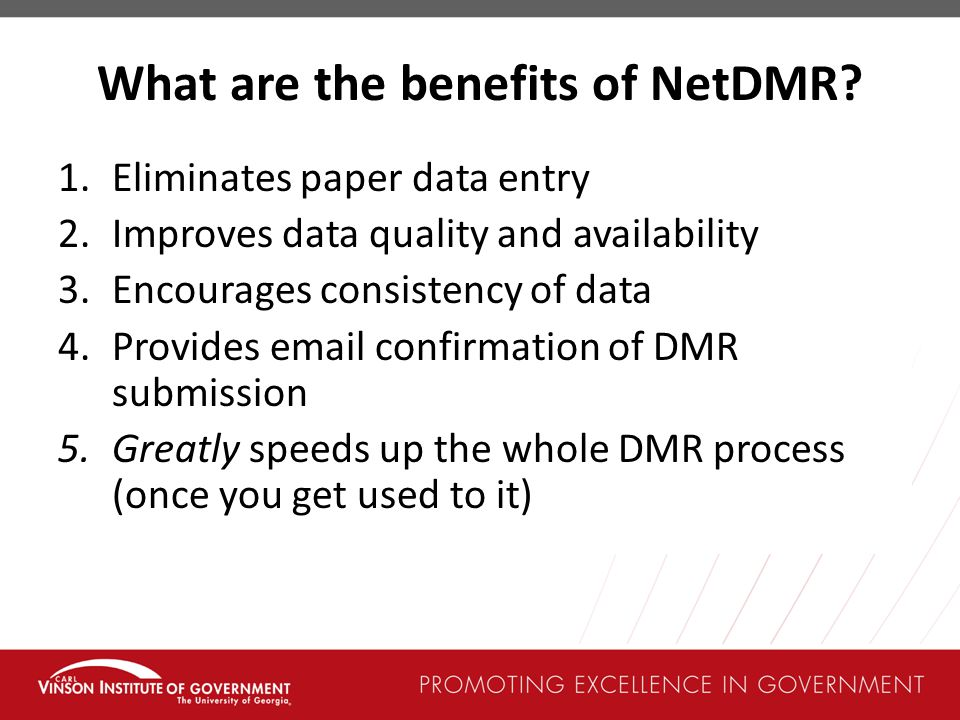 What are the benefits of NetDMR.