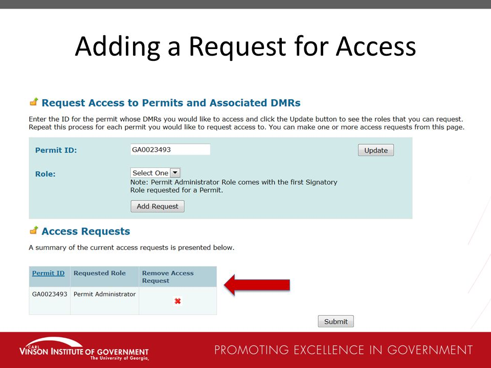 Adding a Request for Access