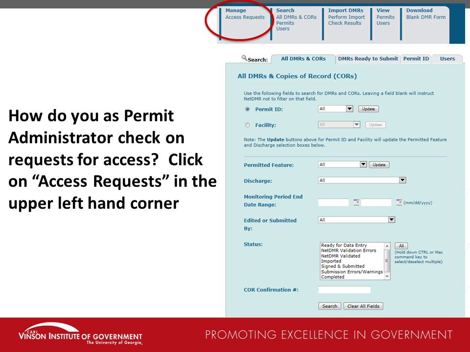 How do you as Permit Administrator check on requests for access.