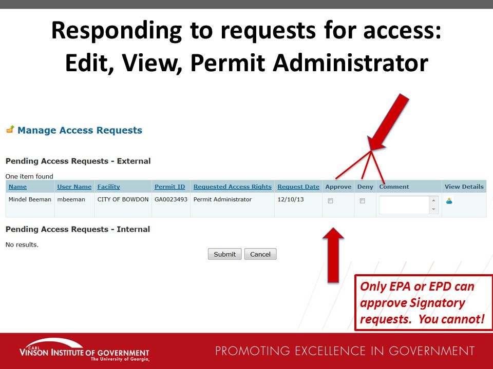 Responding to requests for access: Edit, View, Permit Administrator Only EPA or EPD can approve Signatory requests.