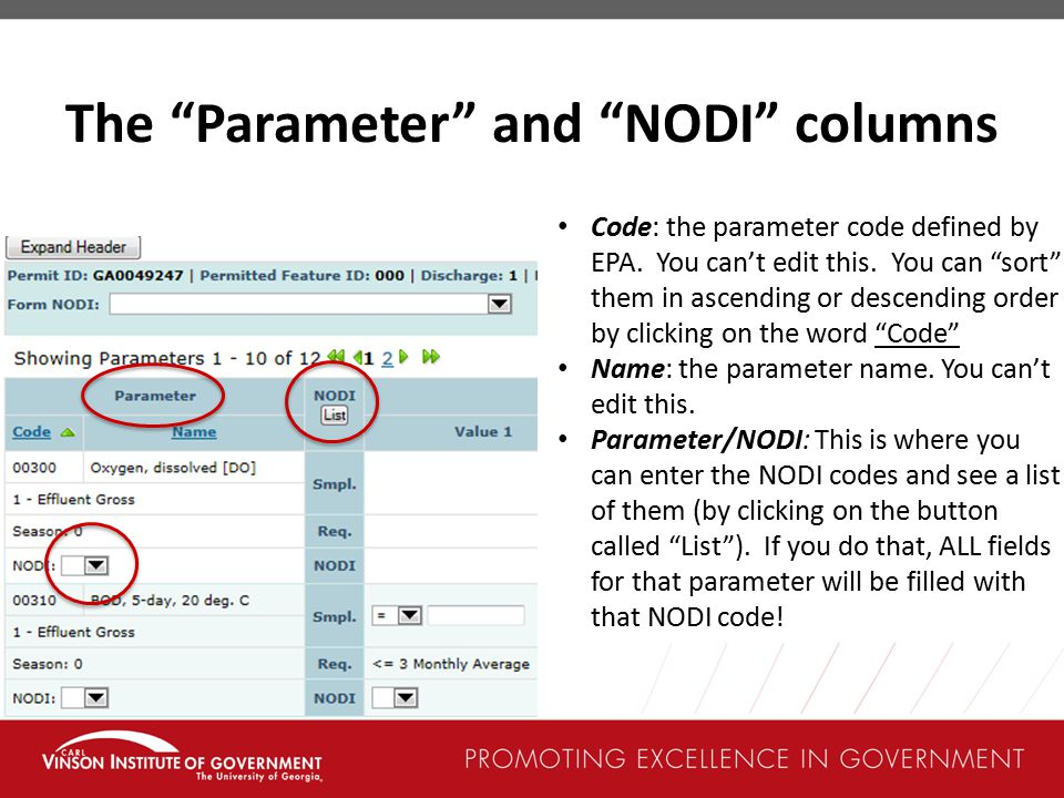 The Parameter and NODI columns Code: the parameter code defined by EPA.