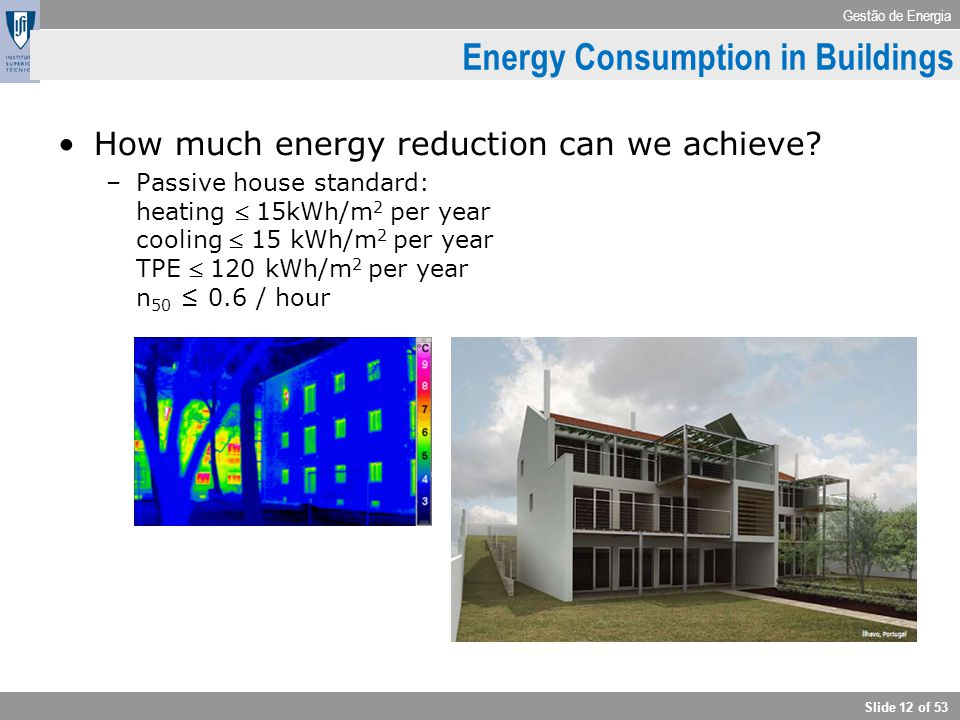 Gestão de Energia Slide 12 of 53 How much energy reduction can we achieve? –Passive house standard: heating  15kWh/m 2 per year cooling  15 kWh/m 2