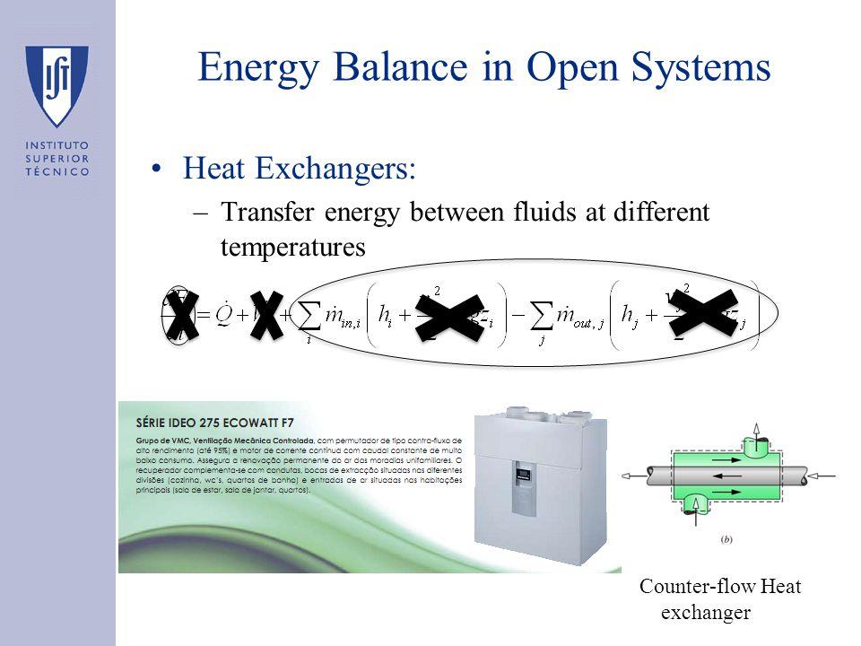 Heat Exchangers: –Transfer energy between fluids at different temperatures Energy Balance in Open Systems Counter-flow Heat exchanger