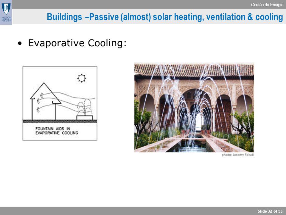 Gestão de Energia Slide 32 of 53 Buildings –Passive (almost) solar heating, ventilation & cooling Evaporative Cooling: