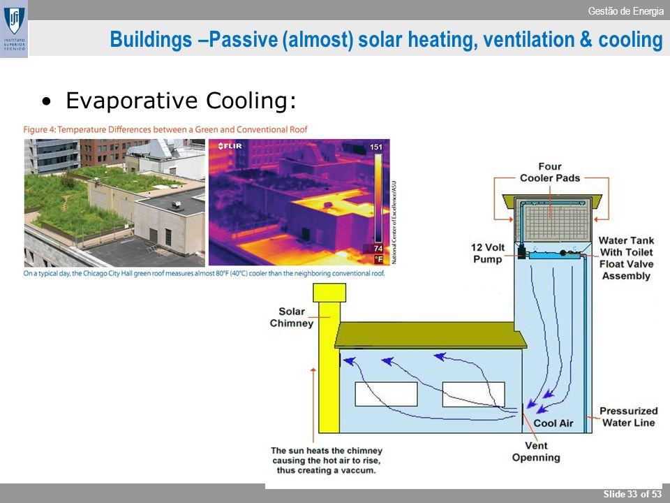 Gestão de Energia Slide 33 of 53 Buildings –Passive (almost) solar heating, ventilation & cooling Evaporative Cooling: