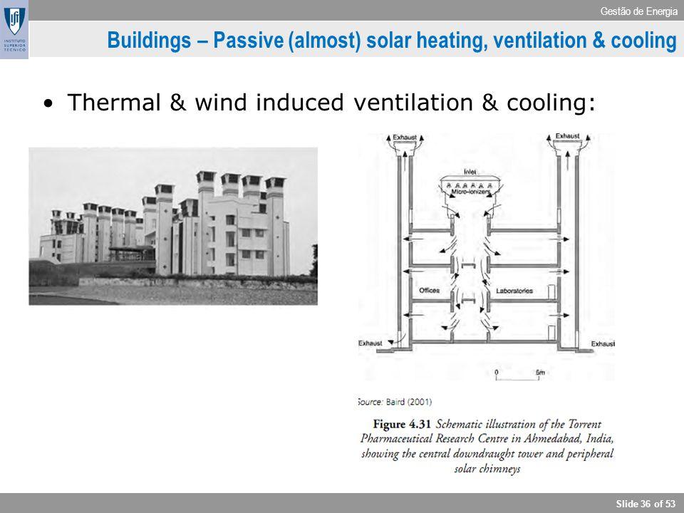 Gestão de Energia Slide 36 of 53 Buildings – Passive (almost) solar heating, ventilation & cooling Thermal & wind induced ventilation & cooling: