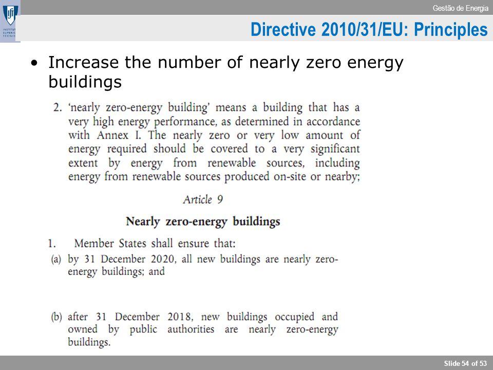 Gestão de Energia Slide 54 of 53 Directive 2010/31/EU: Principles Increase the number of nearly zero energy buildings
