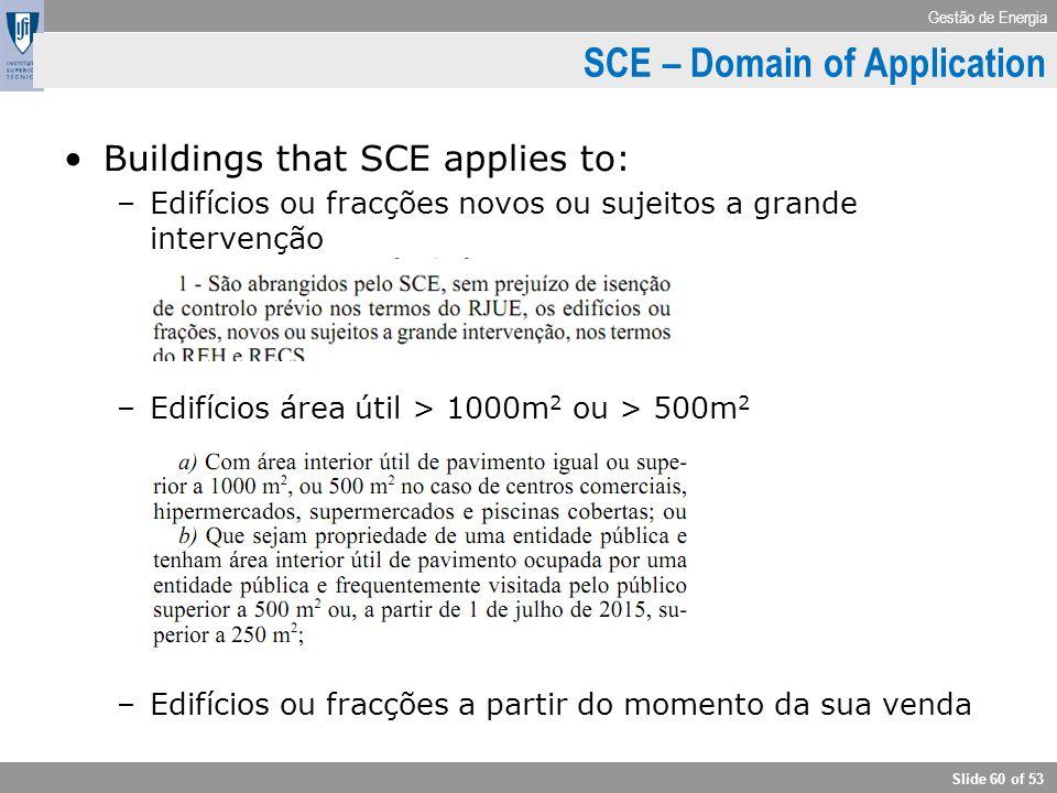 Gestão de Energia Slide 60 of 53 Buildings that SCE applies to: –Edifícios ou fracções novos ou sujeitos a grande intervenção –Edifícios área útil > 1