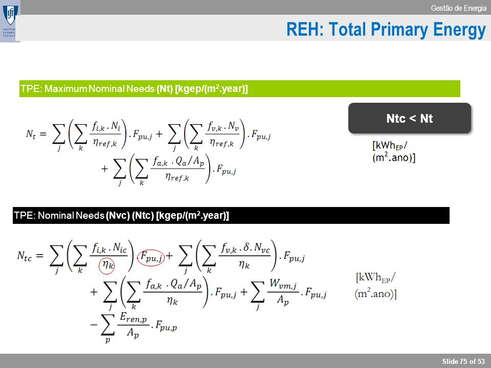 Gestão de Energia Slide 75 of 53 Cooling TPE: Maximum Nominal Needs (Nt) [kgep/(m 2.year)] TPE: Nominal Needs (Nvc) (Ntc) [kgep/(m 2.year)] REH: Total