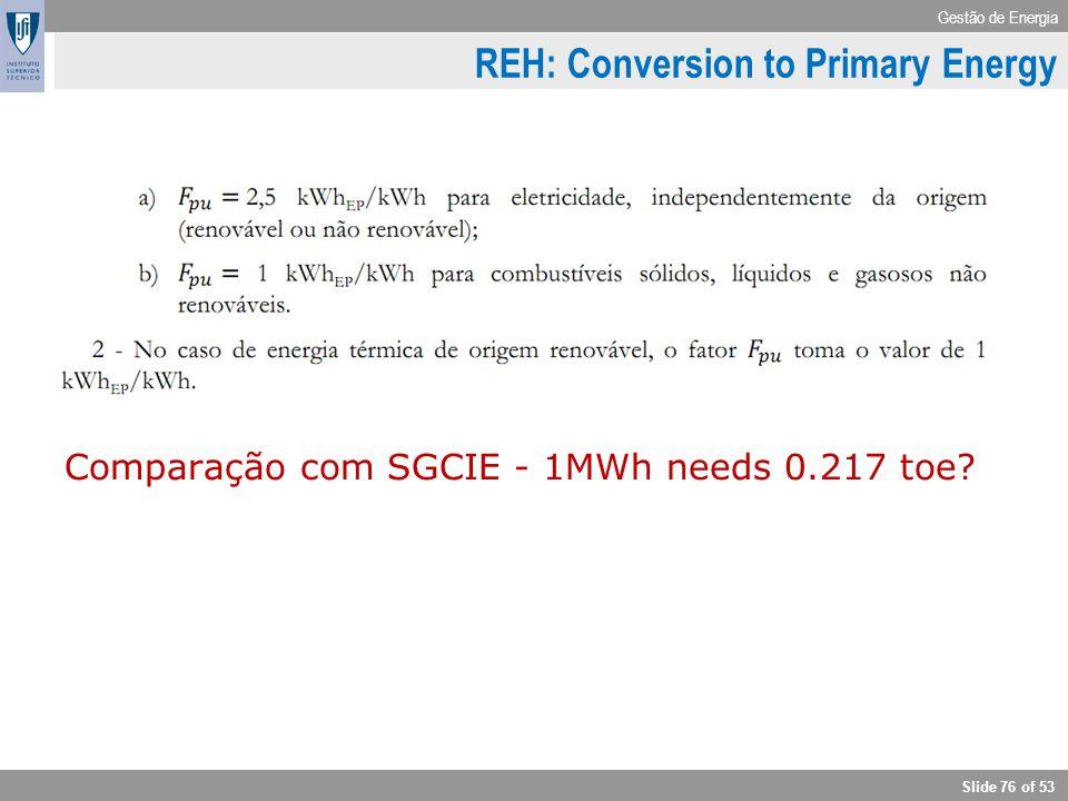 Gestão de Energia Slide 76 of 53 REH: Conversion to Primary Energy Comparação com SGCIE - 1MWh needs 0.217 toe?