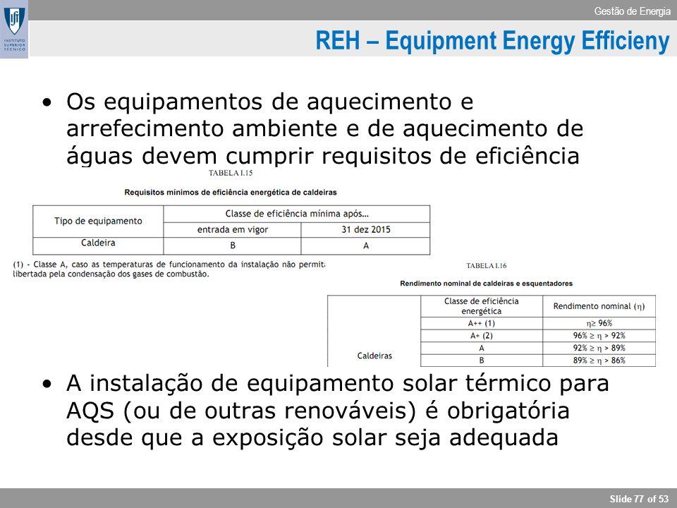 Gestão de Energia Slide 77 of 53 REH – Equipment Energy Efficieny Os equipamentos de aquecimento e arrefecimento ambiente e de aquecimento de águas de