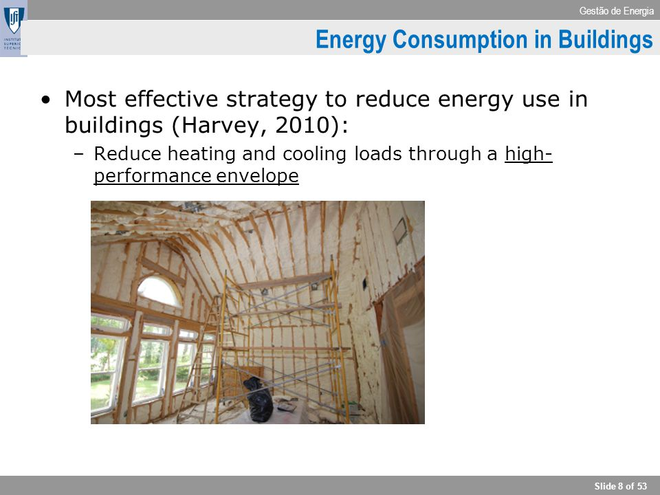 Gestão de Energia Slide 8 of 53 Energy Consumption in Buildings Most effective strategy to reduce energy use in buildings (Harvey, 2010): –Reduce heat