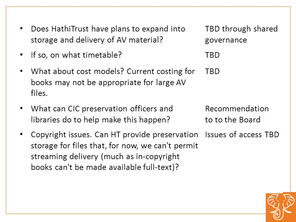 Does HathiTrust have plans to expand into storage and delivery of AV material.