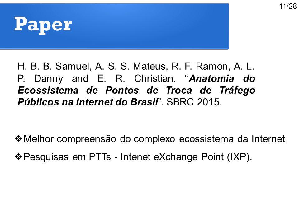 """Paper H. B. B. Samuel, A. S. S. Mateus, R. F. Ramon, A. L. P. Danny and E. R. Christian. """"Anatomia do Ecossistema de Pontos de Troca de Tráfego Públic"""