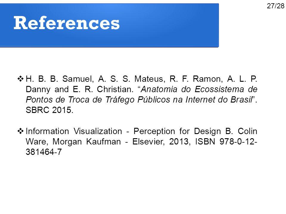 """References  H. B. B. Samuel, A. S. S. Mateus, R. F. Ramon, A. L. P. Danny and E. R. Christian. """"Anatomia do Ecossistema de Pontos de Troca de Tráfego"""