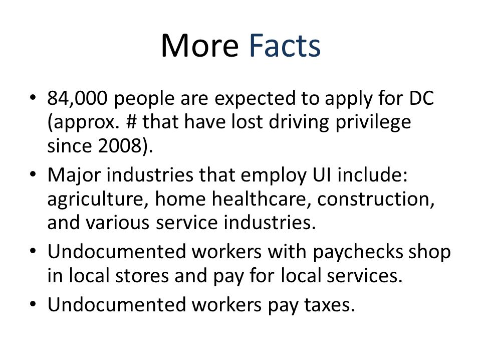 More Facts 84,000 people are expected to apply for DC (approx.