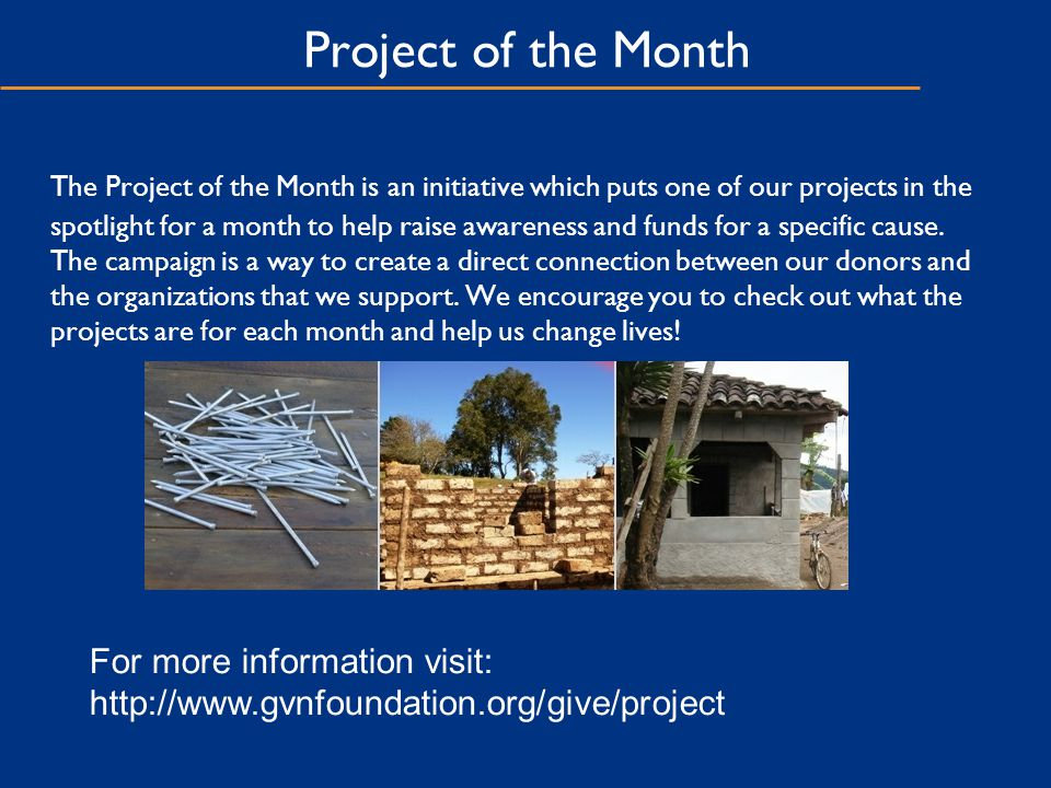 Project of the Month The Project of the Month is an initiative which puts one of our projects in the spotlight for a month to help raise awareness and funds for a specific cause.