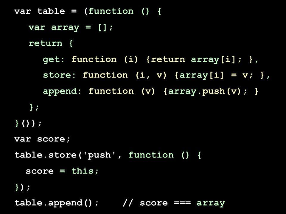 var table = (function () { var array = []; return { get: function (i) {return array[i]; }, store: function (i, v) {array[i] = v; }, append: function (v) {array.push(v); } }; }()); var score; table.store( push , function () { score = this; }); table.append(); // score === array