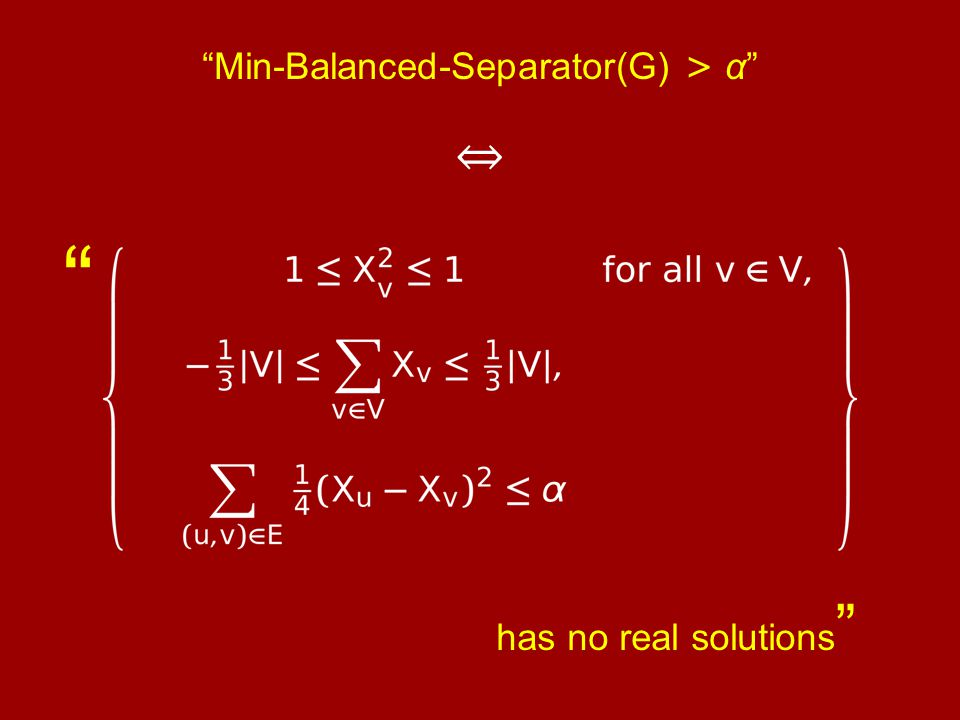 Min-Balanced-Separator(G) > α ⇔ has no real solutions