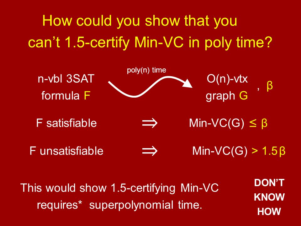 E.g.: SOS d for Min-VC(G) Min-VC(G) > α ⇔ X v 2 = X v for all v ∈ V, X u +X v ≥ 1 for all (u,v) ∈ E, ∑ v X v ≤ α infeasible −1 = Q 0 + Q 1 (α−∑ X v ) + ∑ Q uv (X u +X v −1) + existence of sum-of-squares Q's such that Find largest α such that degree-d Q's exist.