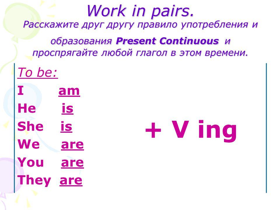 Work in pairs. Расскажите друг другу правило употребления и образования Present Continuous и проспрягайте любой глагол в этом времени. To be: I am He