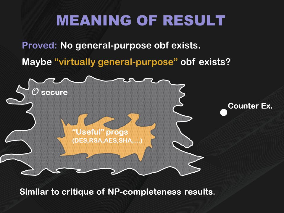 MEANING OF RESULT Proved: No general-purpose obf exists.