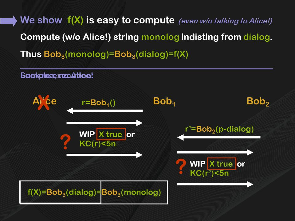 Compute (w/o Alice!) string monolog indisting from dialog.