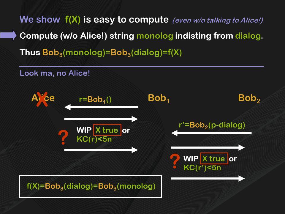 We show f(X) is easy to compute (even w/o talking to Alice!) AliceBob 1 r=Bob 1 () Bob 2 r'=Bob 2 (p-dialog) f(X)=Bob 3 (dialog) Thus Bob 3 (monolog)=Bob 3 (dialog)=f(X) =Bob 3 (monolog) Look ma, no Alice.