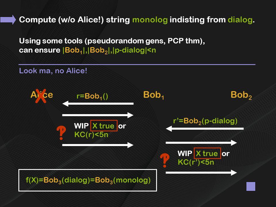 AliceBob 1 r=Bob 1 () Bob 2 r'=Bob 2 (p-dialog) f(X)=Bob 3 (dialog) Using some tools (pseudorandom gens, PCP thm), can ensure |Bob 1 |,|Bob 2 |,|p-dialog|<n =Bob 3 (monolog) Look ma, no Alice.