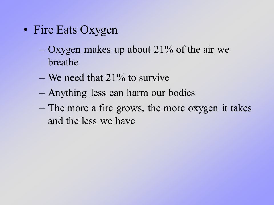 Fire Eats Oxygen –Oxygen makes up about 21% of the air we breathe –We need that 21% to survive –Anything less can harm our bodies –The more a fire grows, the more oxygen it takes and the less we have