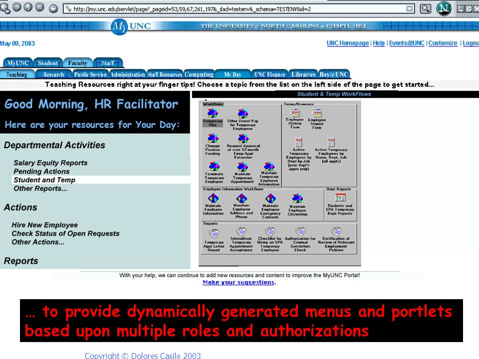 Copyright © Dolores Casile 2003 … to provide dynamically generated menus and portlets based upon multiple roles and authorizations