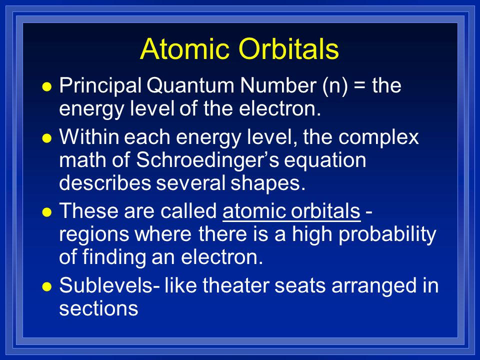 Atomic Orbitals l Principal Quantum Number (n) = the energy level of the electron.