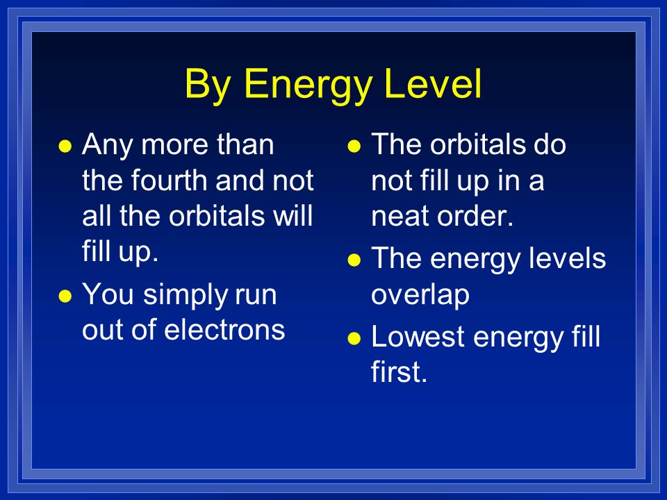 By Energy Level l Any more than the fourth and not all the orbitals will fill up.