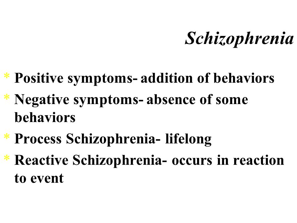 Schizophrenia *Schizophrenia ¤a class of disorders in which severe distortion of reality occurs ·decline from a previous level of functioning ·disturbances of thought and language ·delusions ·perceptual disorders ·emotional disturbances ·withdrawal