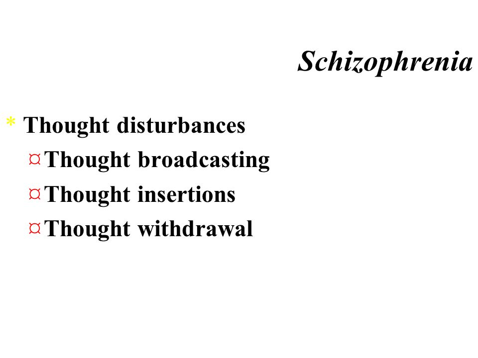 Disordered Thought PROCESSES ¤Clang Associations-associate items in sentences based on sound, not meaning ¤Neologisms- create new words ¤Attentional D