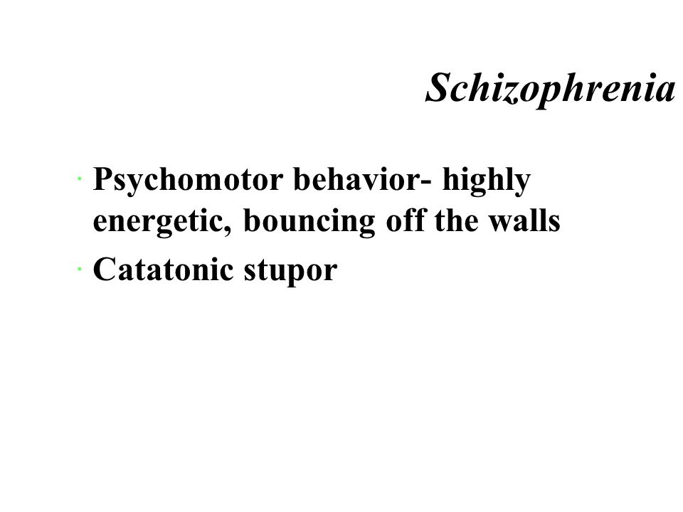 Schizophrenia *Thought disturbances ¤Loss of association- ideas shift from topic to topic with no correlation or sense ·Perceptual hallucination ·Inappropriate affect