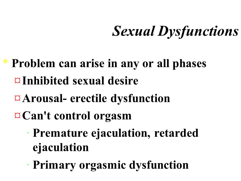 Sexual Dysfunctions *Masters and Johnson *Sexual response cycle 3 stages ¤Desire- sex drive ¤Arousal- blood flow to the genitals, marked by ·Myotonia- muscle tension ¤Orgasm rhythmic contractions