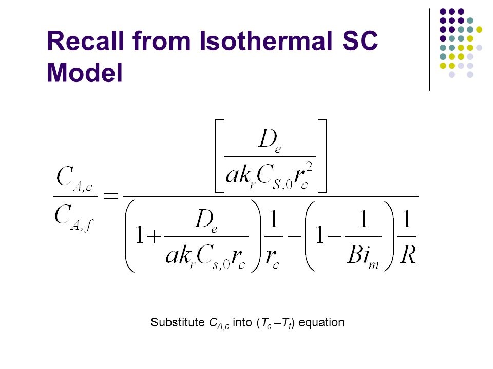 Recall from Isothermal SC Model Substitute C A,c into (T c –T f ) equation
