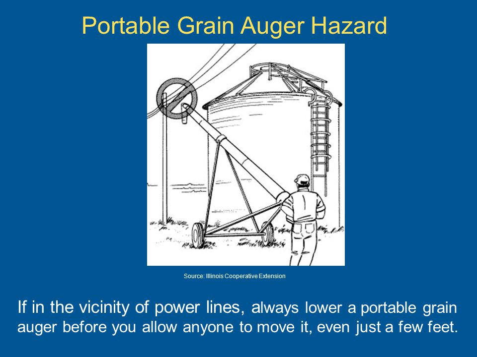 Portable Grain Auger Hazard If in the vicinity of power lines, a lways lower a portable grain auger before you allow anyone to move it, even just a few feet.