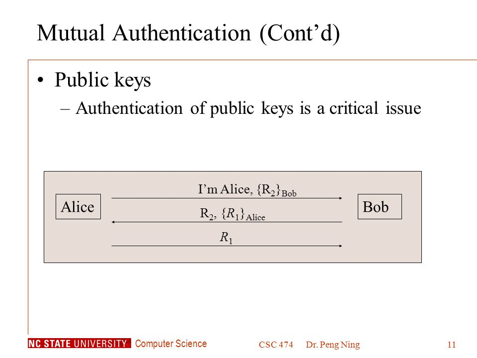 Computer Science CSC 474Dr. Peng Ning11 Mutual Authentication (Cont'd) Public keys –Authentication of public keys is a critical issue AliceBob I'm Ali