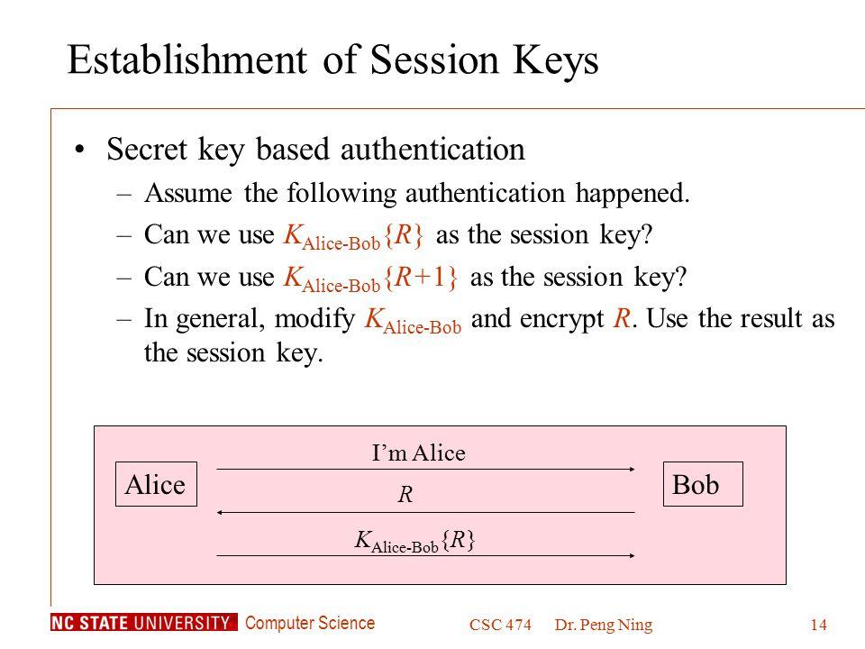Computer Science CSC 474Dr. Peng Ning14 Establishment of Session Keys Secret key based authentication –Assume the following authentication happened. –