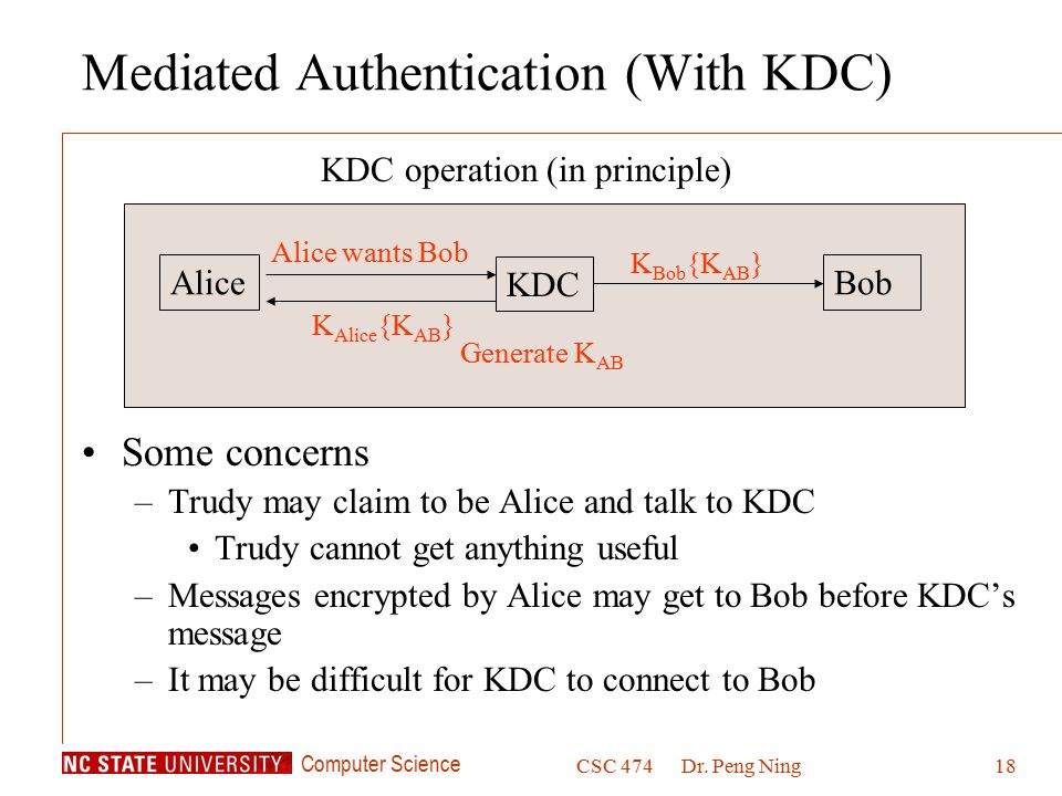 Computer Science CSC 474Dr. Peng Ning18 Mediated Authentication (With KDC) Some concerns –Trudy may claim to be Alice and talk to KDC Trudy cannot get