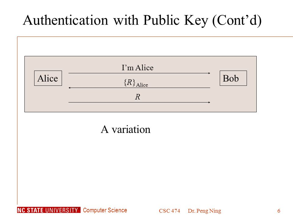 Computer Science CSC 474Dr. Peng Ning6 Authentication with Public Key (Cont'd) A variation AliceBob I'm Alice {R} Alice R
