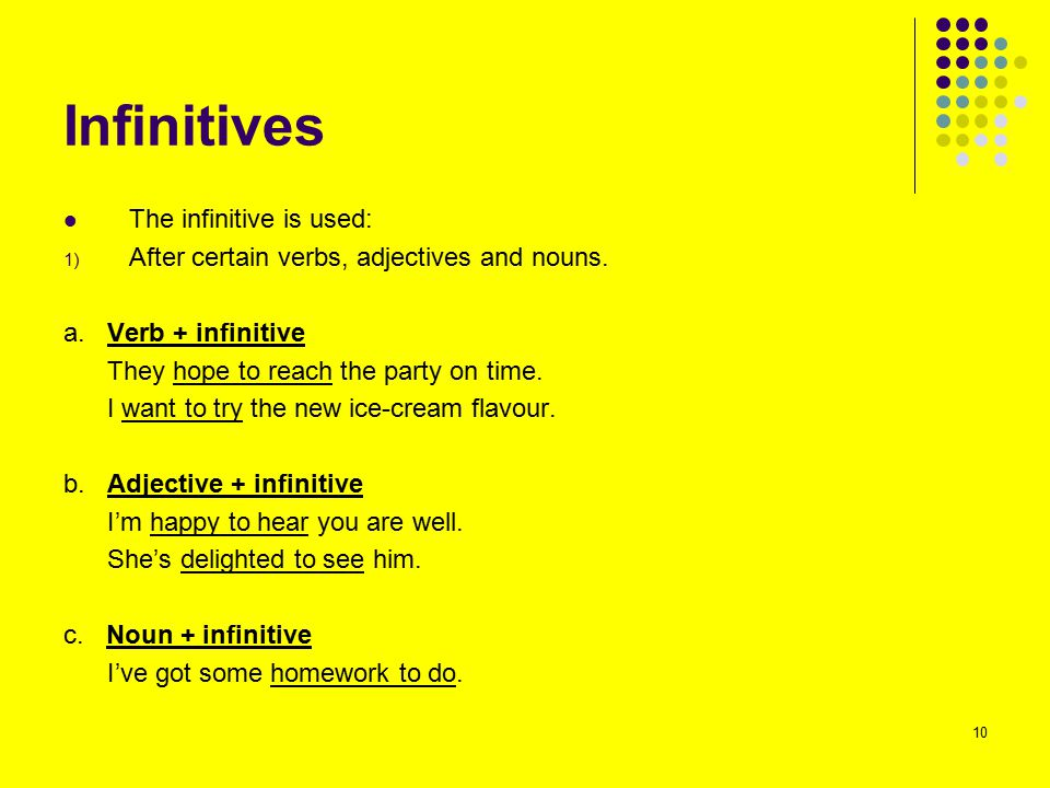 Infinitives The infinitive is used: 1) After certain verbs, adjectives and nouns. a. Verb + infinitive They hope to reach the party on time. I want to
