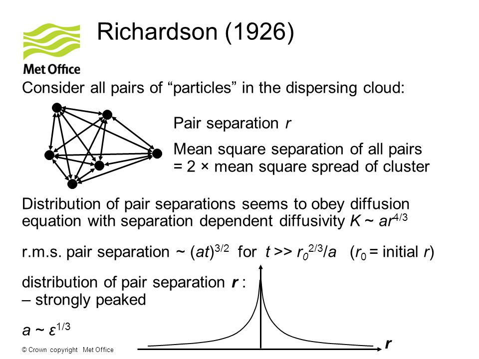 © Crown copyright Met Office Richardson (1926) Consider all pairs of particles in the dispersing cloud: Distribution of pair separations seems to obey diffusion equation with separation dependent diffusivity K ~ ar 4/3 r.m.s.