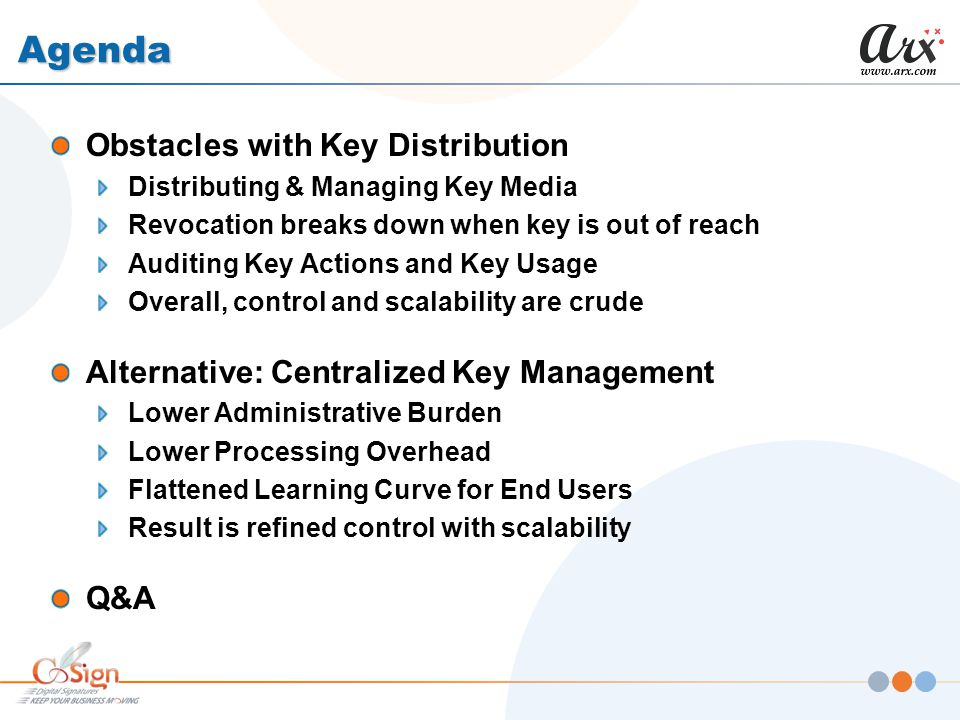 Agenda Obstacles with Key Distribution Distributing & Managing Key Media Revocation breaks down when key is out of reach Auditing Key Actions and Key Usage Overall, control and scalability are crude Alternative: Centralized Key Management Lower Administrative Burden Lower Processing Overhead Flattened Learning Curve for End Users Result is refined control with scalability Q&A