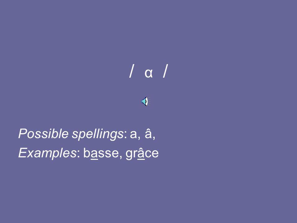 / a / Possible spellings: a (+ sounded consonant), à, e(mme) (rare) Examples: bac, à, déjà, femme