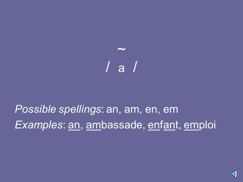 / α / Possible spellings: a, â, Examples: basse, grâce