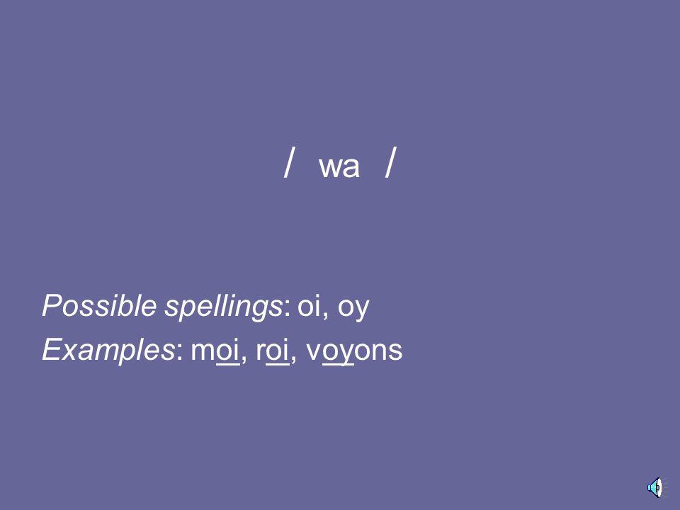 ~ / a / Possible spellings: an, am, en, em Examples: an, ambassade, enfant, emploi