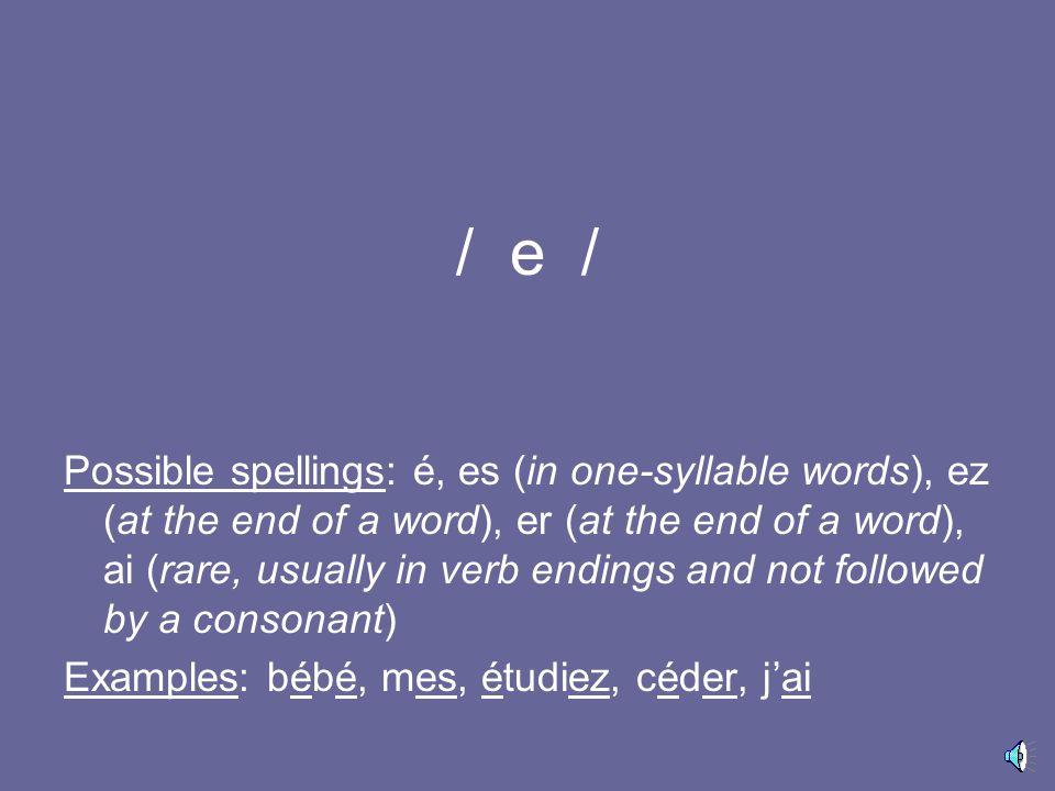 / u / Possible spellings: ou, où, oû Examples: vous, où, goût
